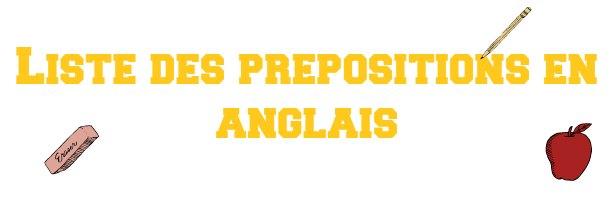 liste préposition anglais
